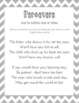 Persevere Poem from the Children's Book of Virtues