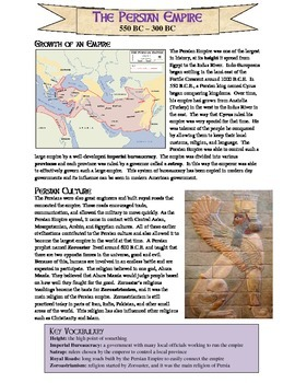 Persian Empire Reading and Review Worksheet