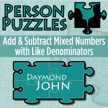 Person Puzzle - Add & Subtract Mixed Numbers (like denomin