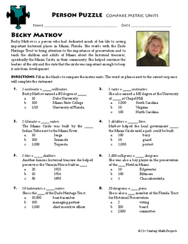 Person Puzzle -- Comparing Metric Units - Becky Matkov Worksheet