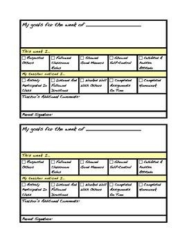 Personal Behavior Sheet