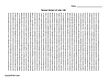 Personal Context of Later Life Vocabulary Word Search for
