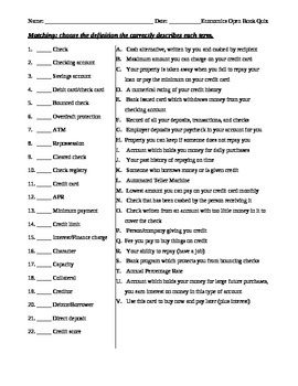 Personal Economics Test Assessment worksheet - terms, chec
