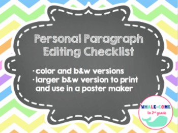 Personal Editing Checklist- Color-coded Pencil