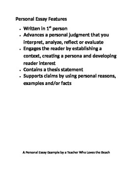 Personal Essay: List of Features and Model Essay