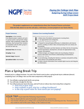 Personal Finance Project: Plan a Spring Break Trip