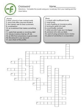 Personal Finance Vocabulary Crossword