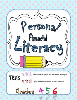 Personal Financial Literacy TEKS 5.10A 5.10B Task Cards