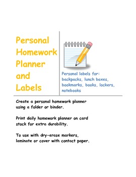 Personal Homework Planner and clip art labels
