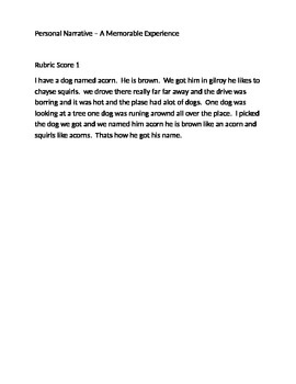 Personal Narrative Anchor Papers 1 2 3 4 Memorable Experience