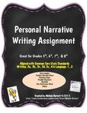 Personal Narrative Assignment & Rubric - Common Core Aligned
