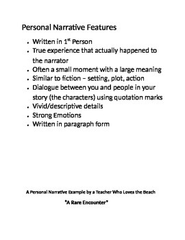 Personal Narrative:List of Features and Model Essay