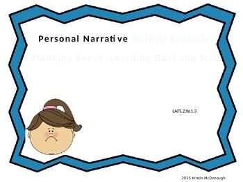 Personal Narrative Example with Planning Sheet, Learning G