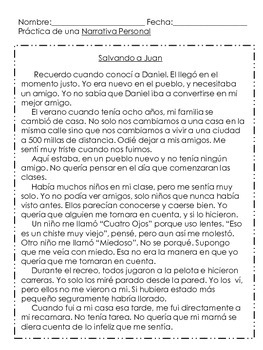 Personal Narrative Practice (in spanish)