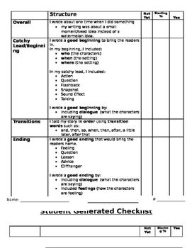 Personal Narrative Student Checklist