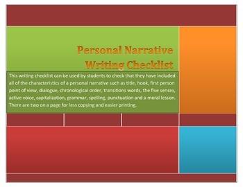 Personal Narrative Writing Checklist for Grades 6-12