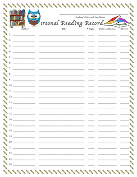 Personal Reading Record