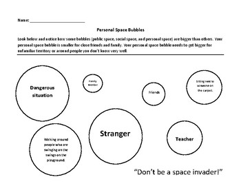 Personal Space Camp: Personal Space Bubbles coloring sheet