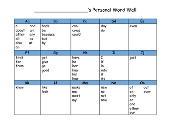 Personal Word Wall with 100 most commonly used words in writing