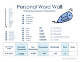 Personal Word Wall: Writing Numbers in Word Form
