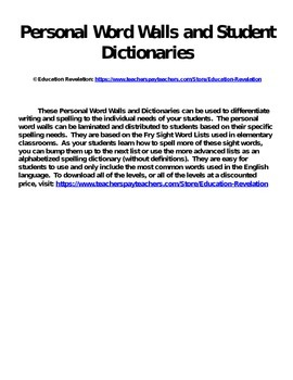 Personal Word Wall and Dictionary (Fry Words 1 - 3000)