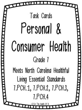 Personal and Consumer Health Task Cards for 7th Grade