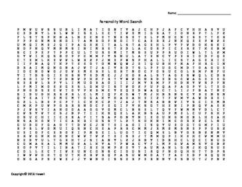 Personality Vocabulary Word Search for Psychology