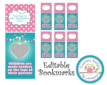 Personalized Classroom Bookmarks