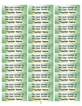 Personalized Classroom Library Book Labels - green