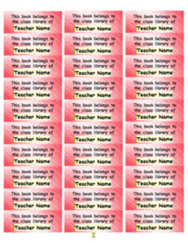 Personalized Classroom Library Book Labels - red