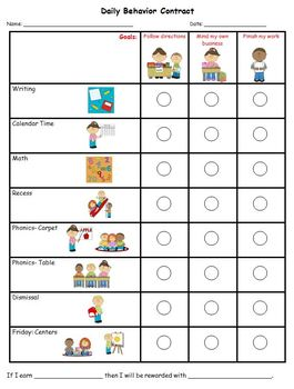 Personalized Daily Behavior Contract WL2