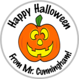 Pumpkin Halloween Stickers - Personalized For Your Classroom