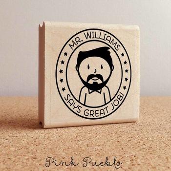Personalized Male Teacher Rubber Stamp, Custom Teacher Stamp