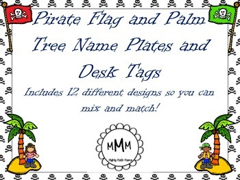 Personalized Pirate Flag and Palm Tree Theme Name Plates,