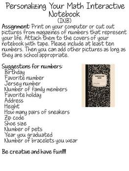 Personalizing Your Math Interactive Notebook