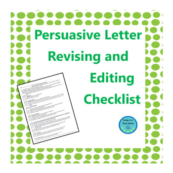 persuasive essay revision checklist Revision strategies when you revise and are spending time thinking about how  well your content works in your essay, there are some strategies to keep in.