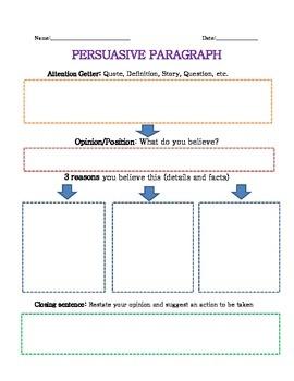 Persuasive Paragraph Graphic Organizer