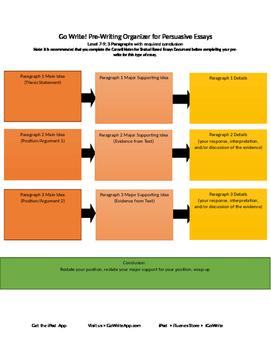 Persuasive PreWriting Graphic Organizer Level 7-9