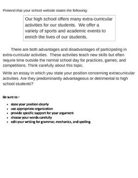 Persuasive Prompt for STAAR English EOC - Extracurricular