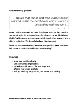 Persuasive Prompt for STAAR English EOC - Flexibility in Life