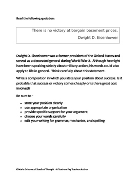 Persuasive Prompt for STAAR English EOC - The Price of Victory