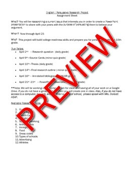 Persuasive Research Project Assignment Sheet and Rubrics
