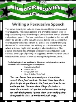 Persuasive Speech Writing Packet