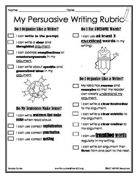 Persuasive Writing Child-Friendly Rubric, 5th Grade