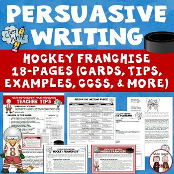 Persuasive Writing: Create Own Hockey Franchise (Aligned to CCSS)