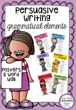 Persuasive Writing Grammatical Elements - Posters & Word Wall