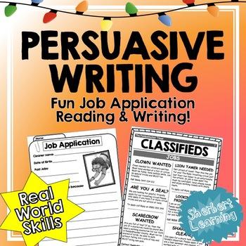 FUN Job Application Reading and Persuasive Writing - Fun R