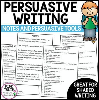 Persuasive Writing Notes- Sentence Starters and Tools