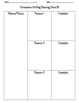 Persuasive Writing Planning Sheets