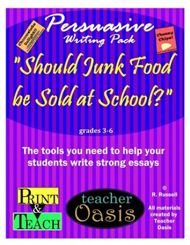 "Persuasive Writing Prompt ""Should Junk Food be Sold at School?"""